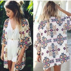 Aztec Flowy Boutique Kimono Purple Blue Gold